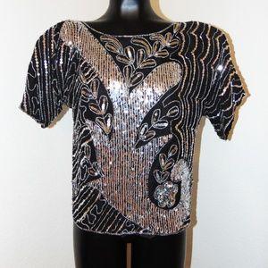 Vtg 80s Black & Silver Sequin Design top sz M